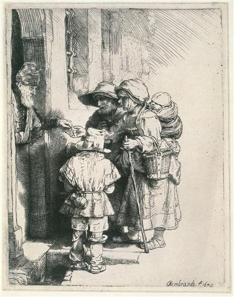 rembrandt beggars at doorstep